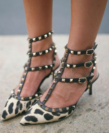 Leopard printed kitten heels