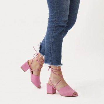 Pink strappy mule block heels on Pinterest