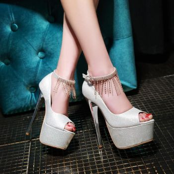 Silver Peep Toe Heels on Pinterest
