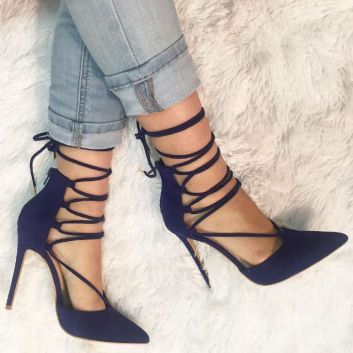 Black strappy pump heeled shoes