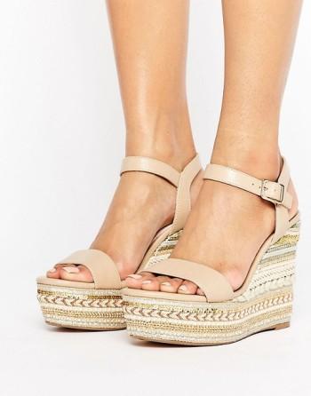 Golden wedge heels